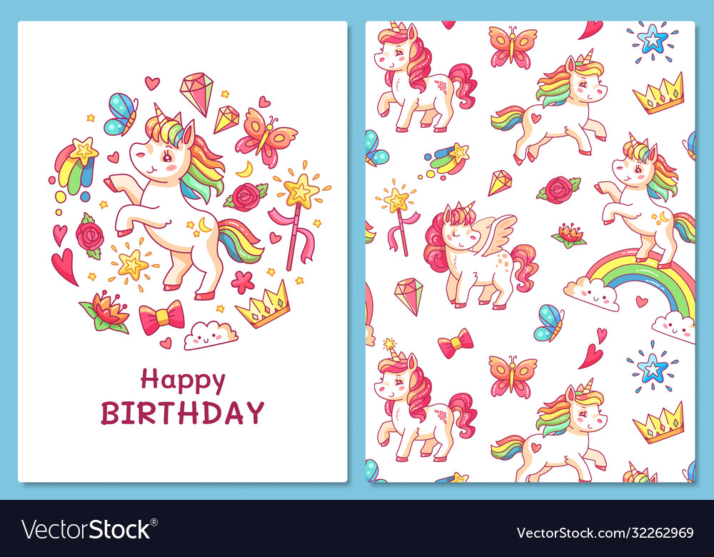 Magic cute unicorn greeting card cartoon