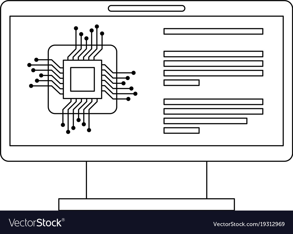 Monitor Computer With Processor Circuit Royalty Free Vector Image