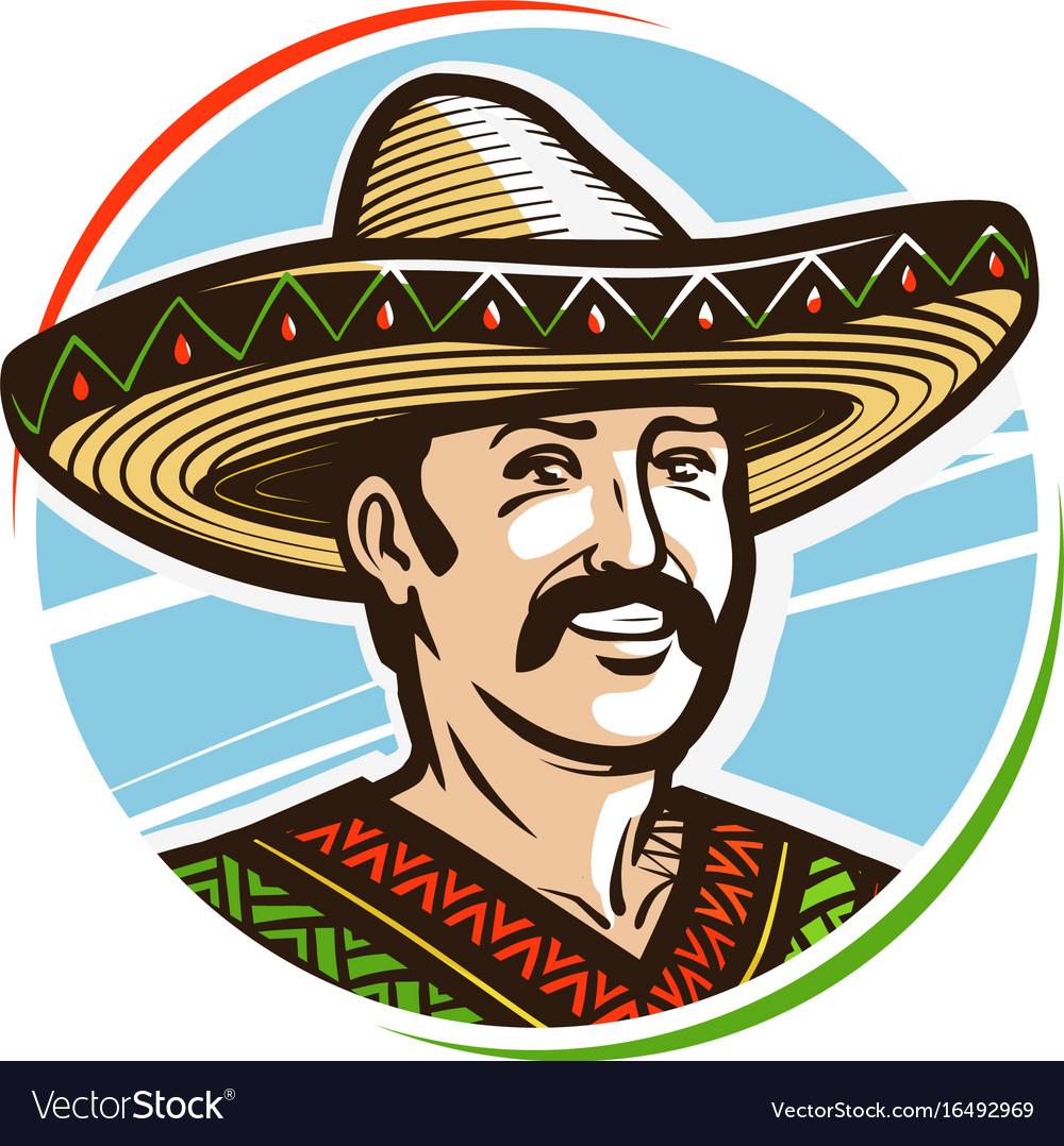 2ac3c533f5d Portrait of happy smiling mexican in sombrero Vector Image