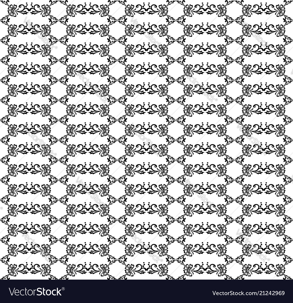 Seamless pattern black and white stylized floral