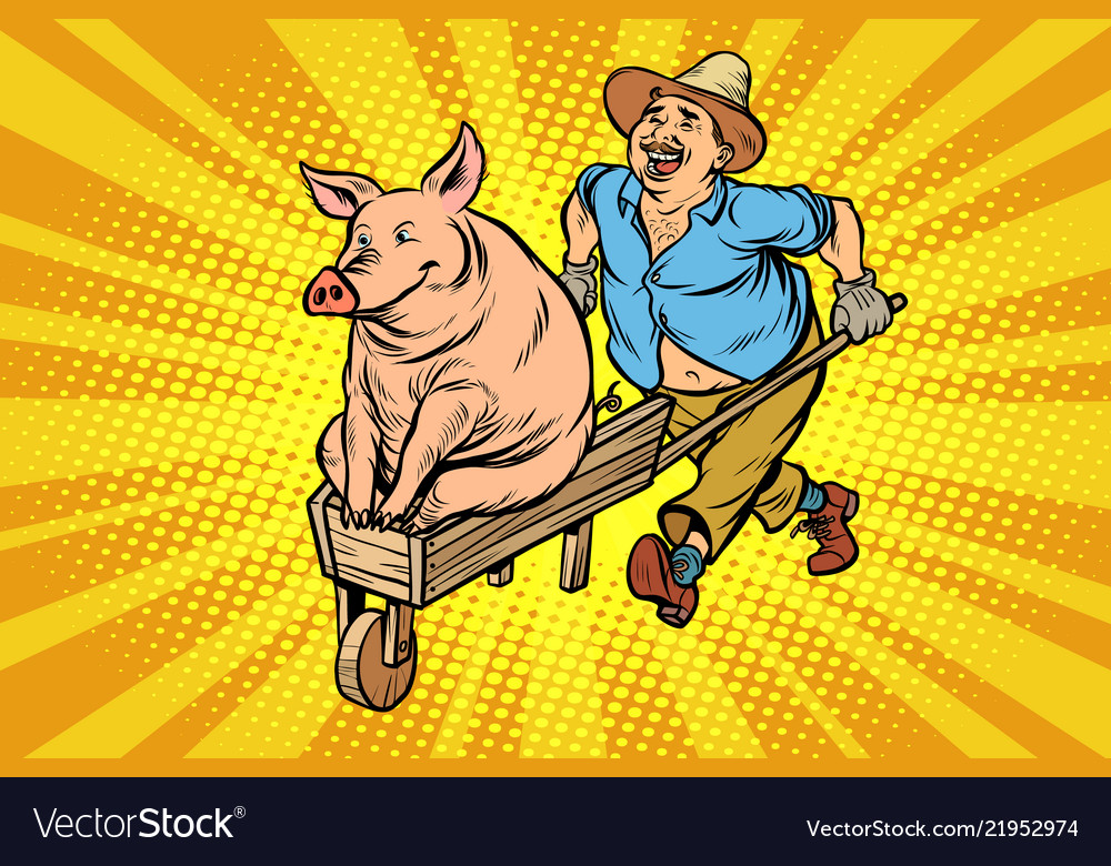 A farmer is transporting a pig on a wooden