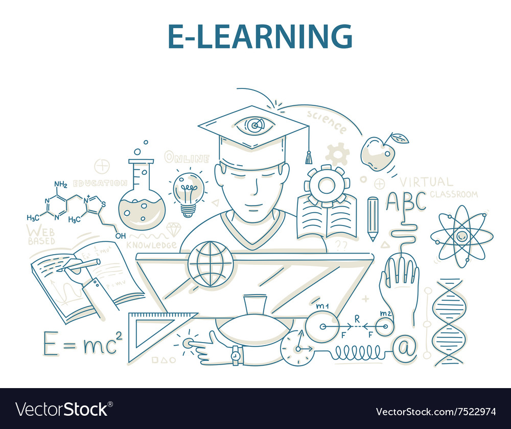 Doodle style design concept e-learning and