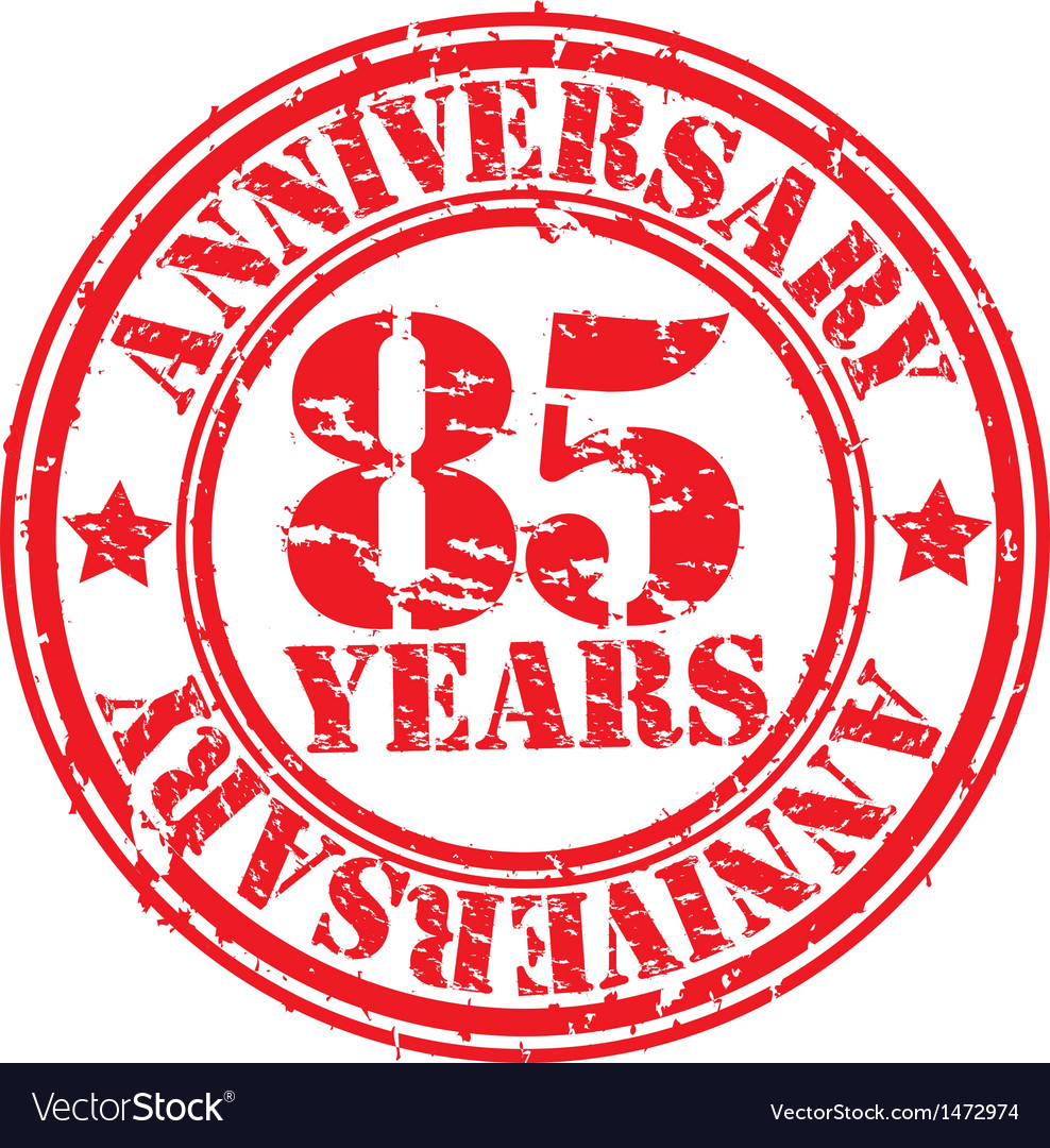 Grunge 85 years anniversary rubber stamp vector image on VectorStock