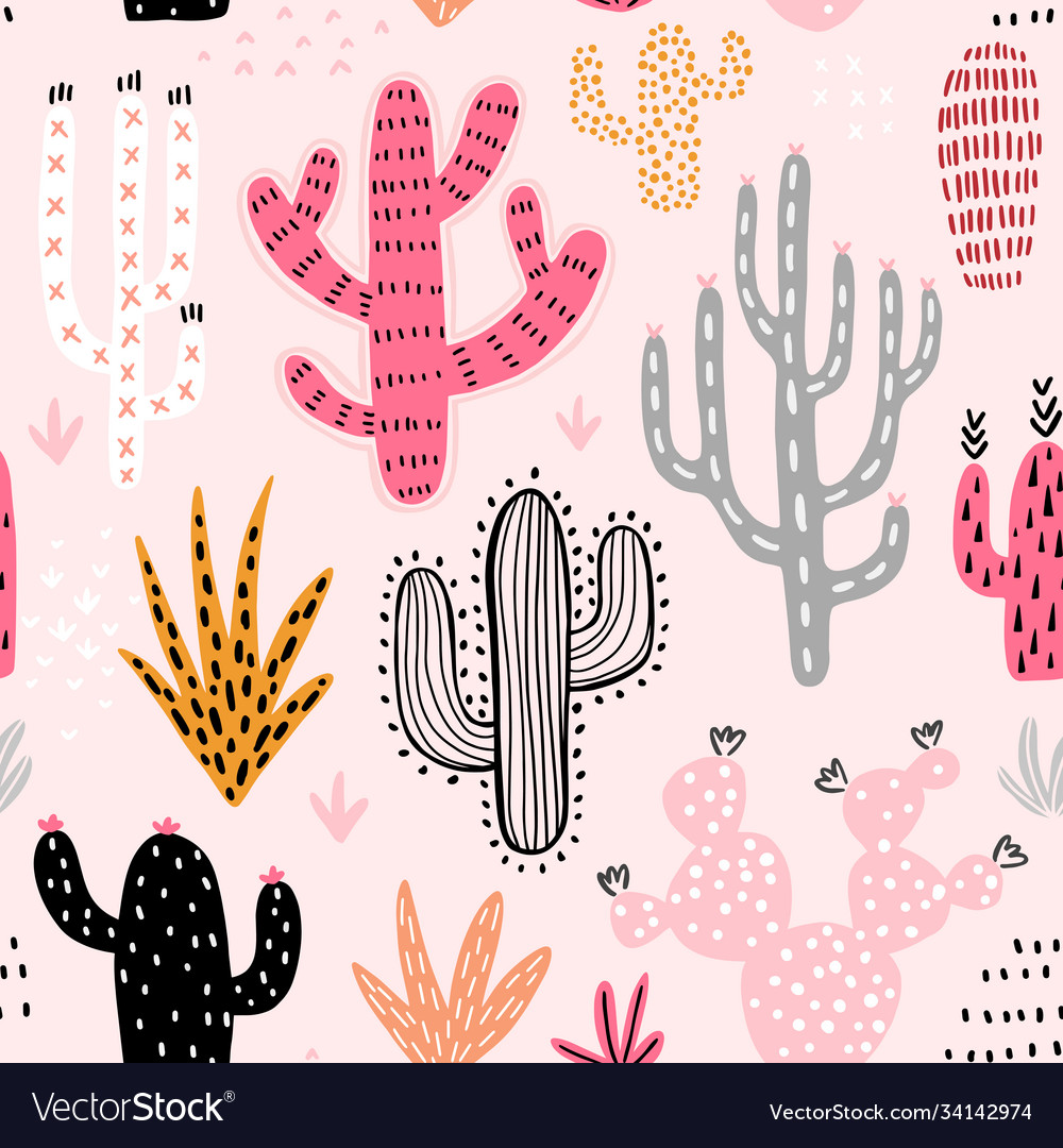 Seamless cacti pattern cute colorful hand drawn