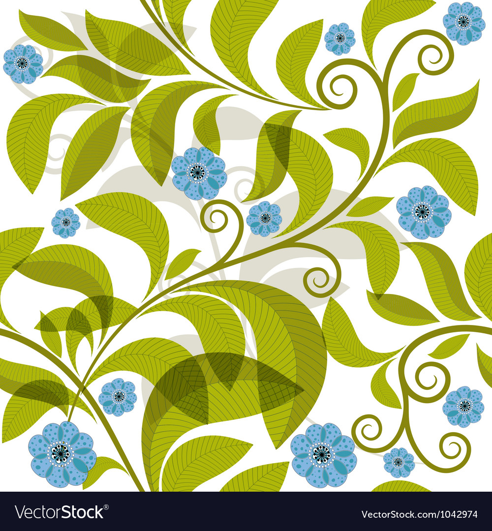 Seamless pattern with green branch