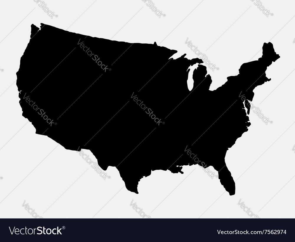 American Map Vector.The United States Of America Map Silhouette Vector Image