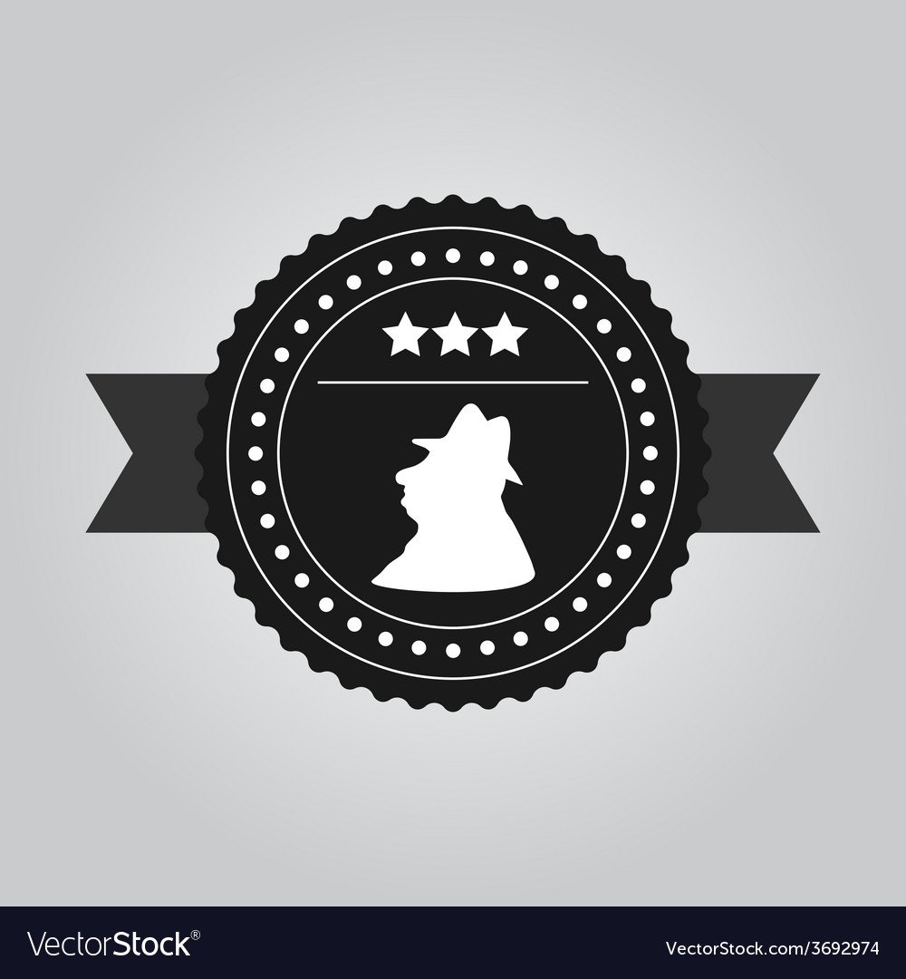 VIntage black logo design a man in hat