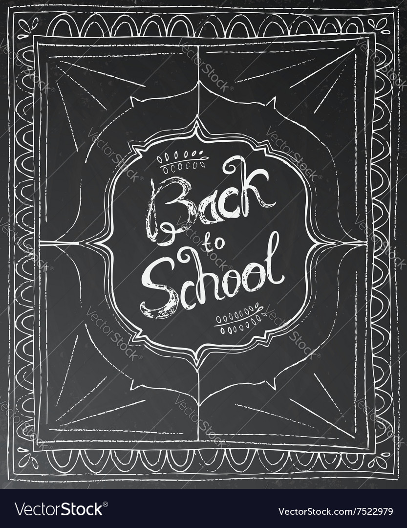 Back to school chalk lettering on black background