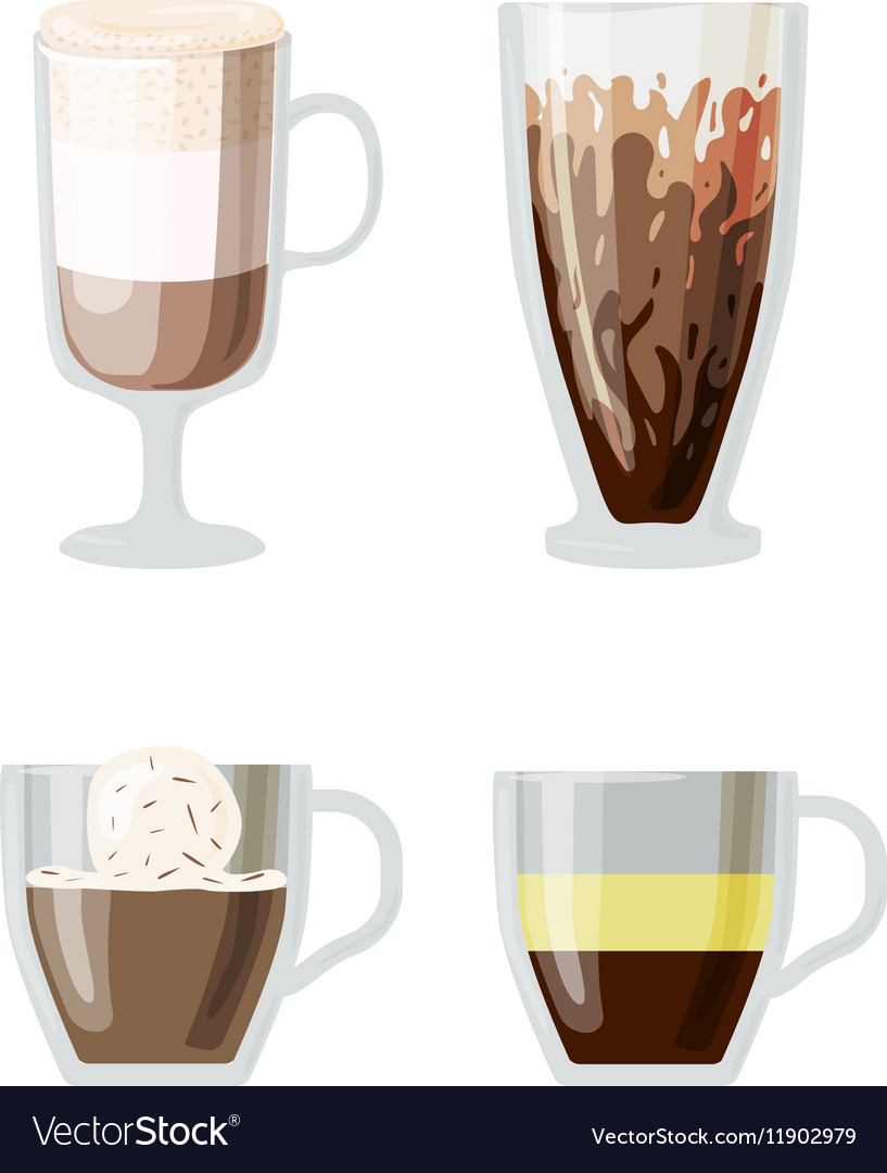 Coffee Cups Diffe Cafe Drinks Vector Image