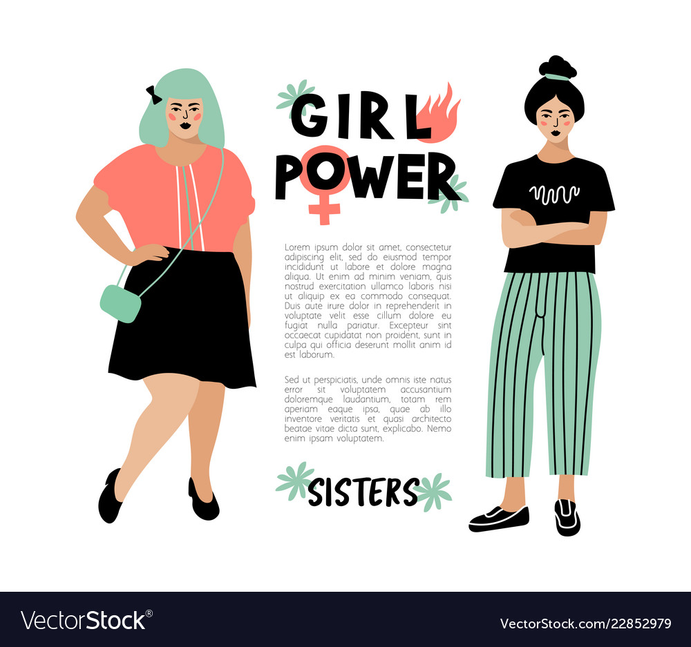 Girl power card feminist poster stylish young