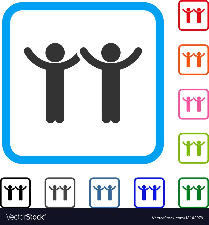 Hands up children framed icon