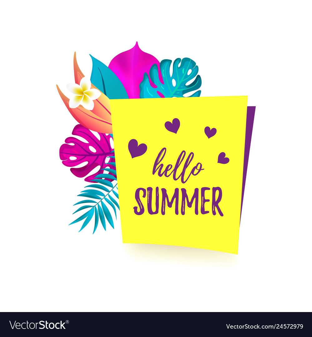 Hello summer cartoon speech bubble with realistic