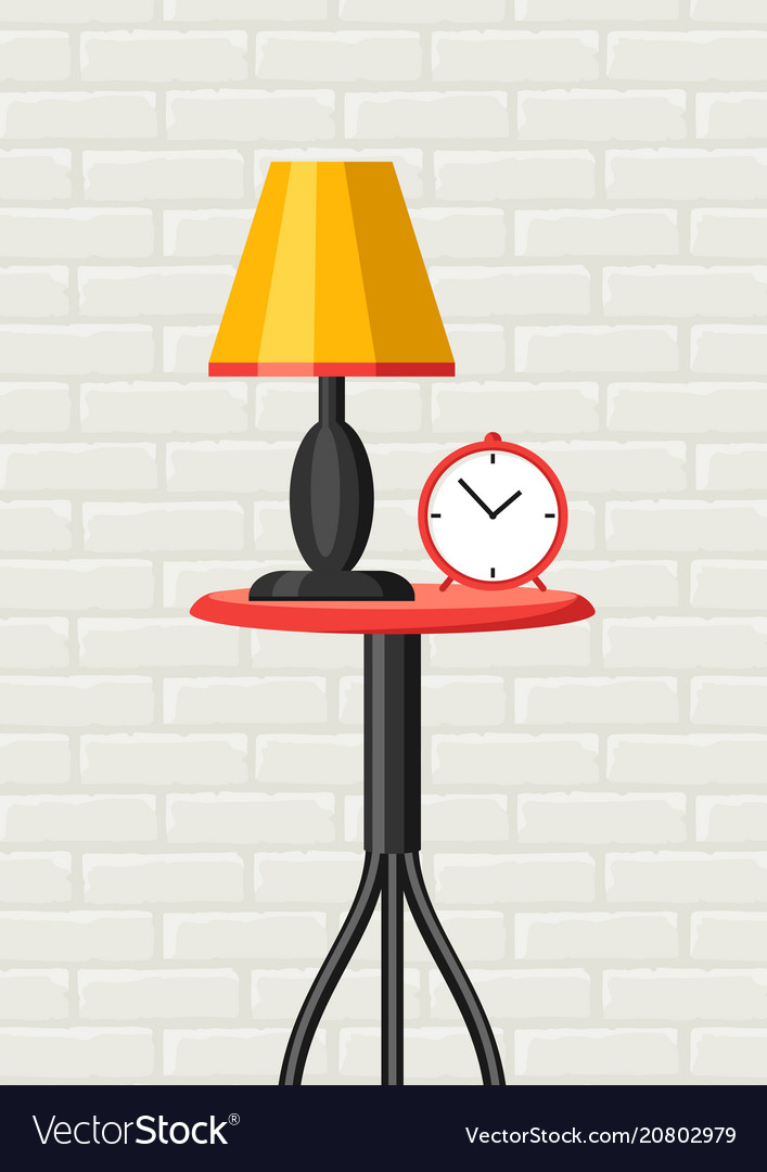 Table Lamp And Clock Vector Image
