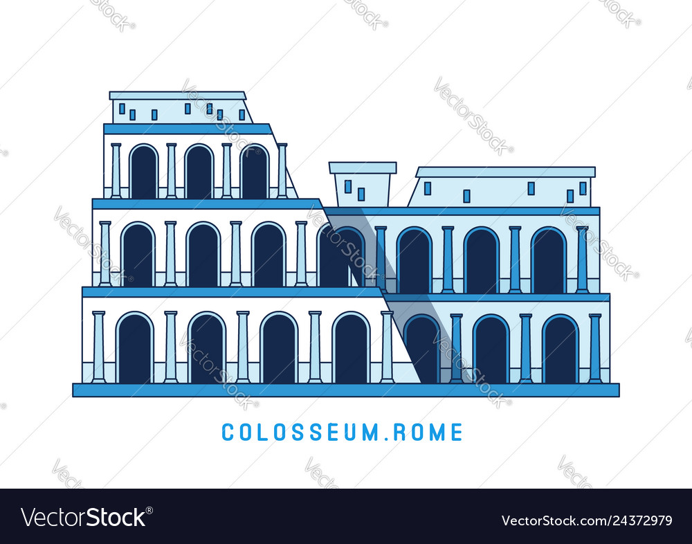 Line art colosseum rome italy european famous