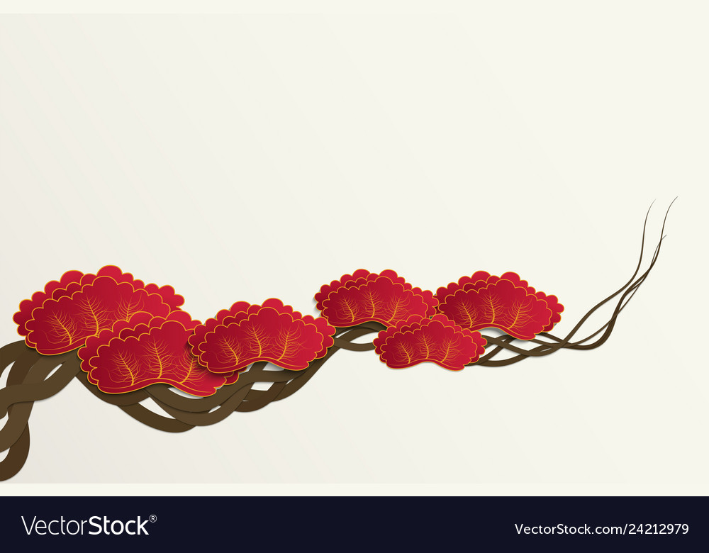 Paper cut style of plum blossom tree branch