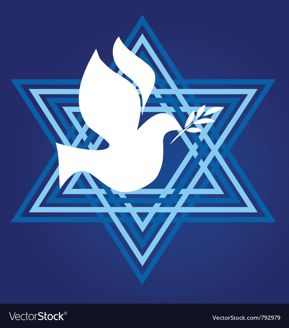 Peace symbol david star with white pigeon vector image