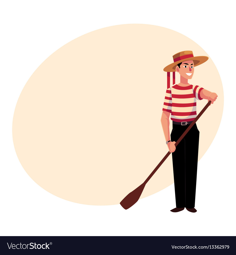 Portrait of young italian venetian gondolier in