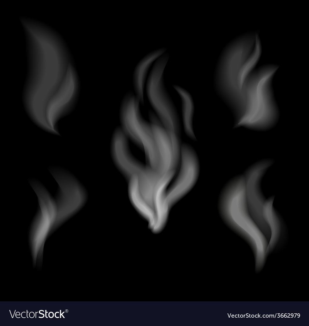 Realistic smoke design Set of smoke on black