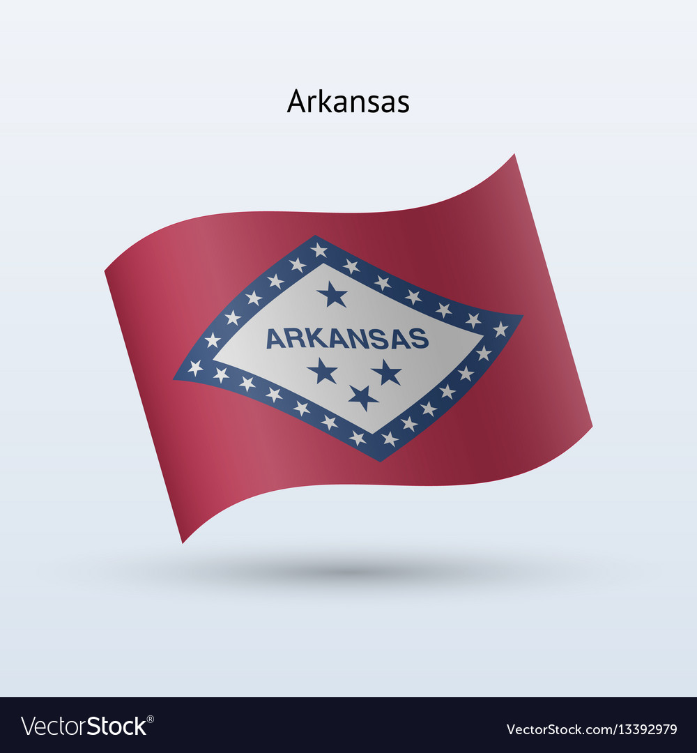 State of arkansas flag waving form vector image