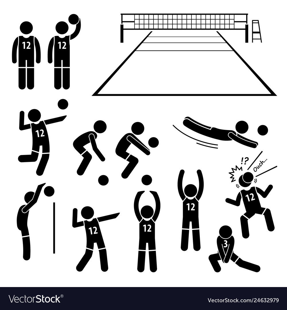 Volleyball player actions poses postures stick