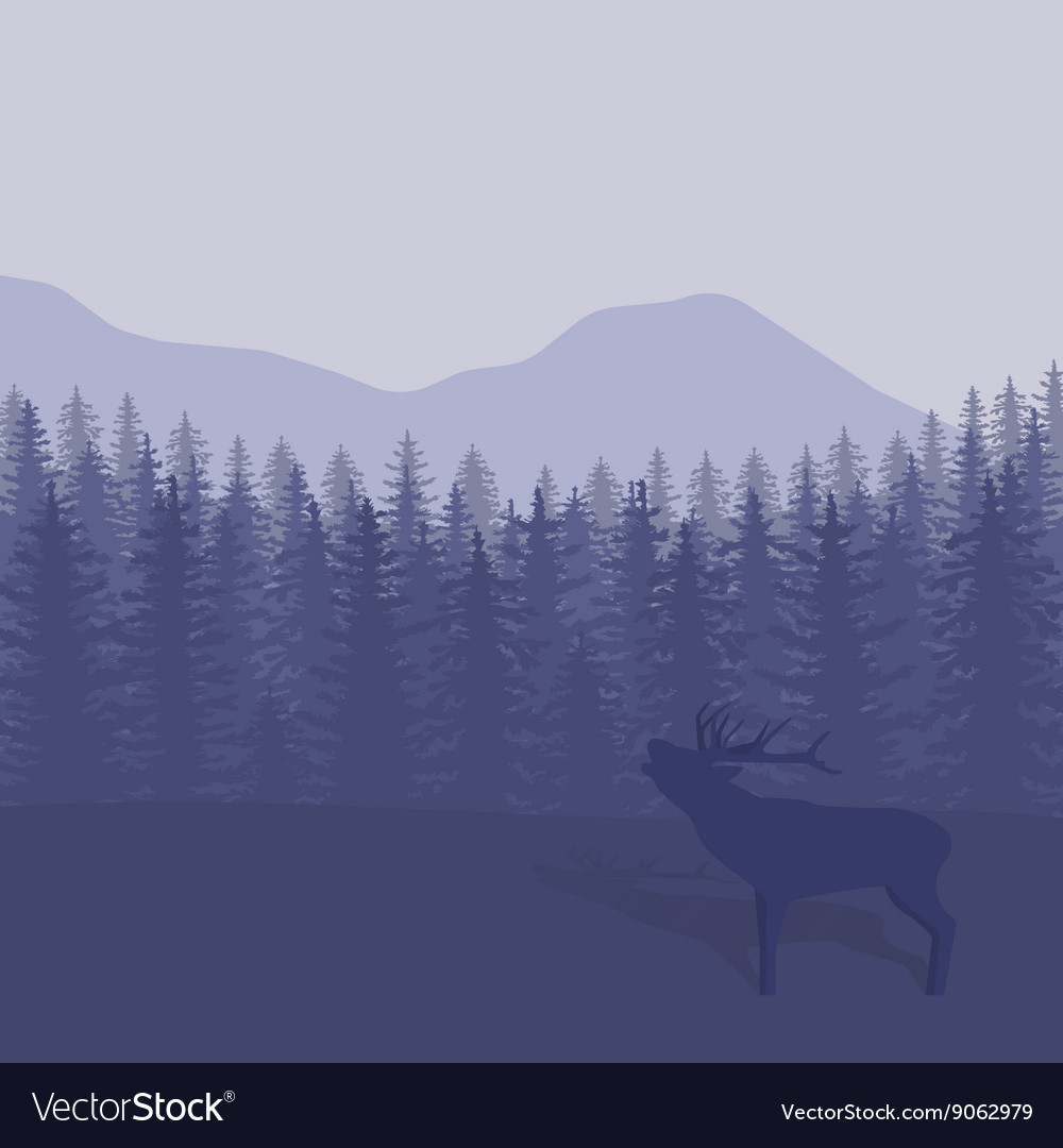 With trees and deer