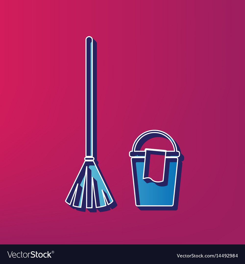 Broom and bucket sign blue 3d printed