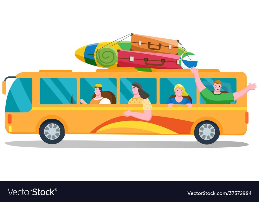 Car summer trip happy people on holidays on