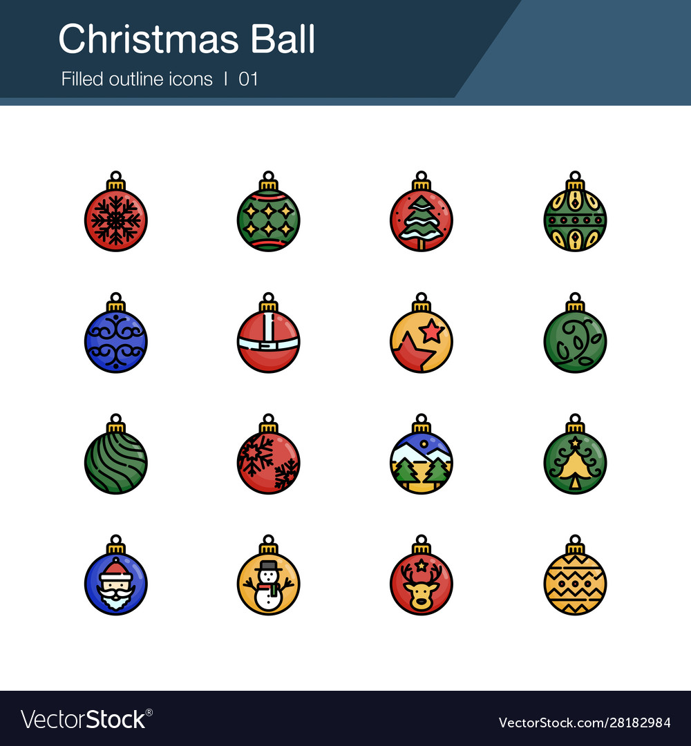 Christmas ball icons filled outline design for