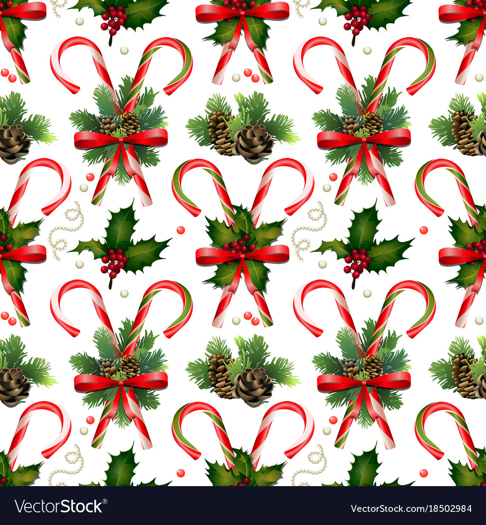 christmas candies with coniferous decorations vector image - Christmas Candy Decorations