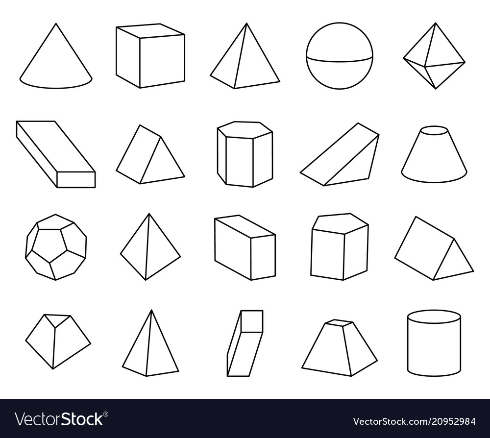 Types Of Cone Shapes: Cone And Pyramid Shapes Set Royalty Free Vector Image