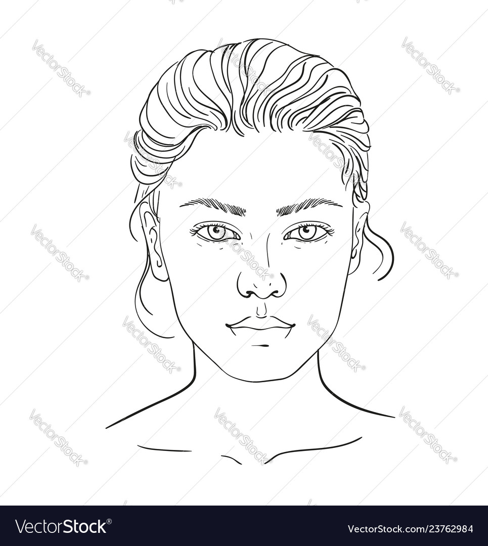 Face Chart Makeup Artist Blank Template Royalty Free Vector