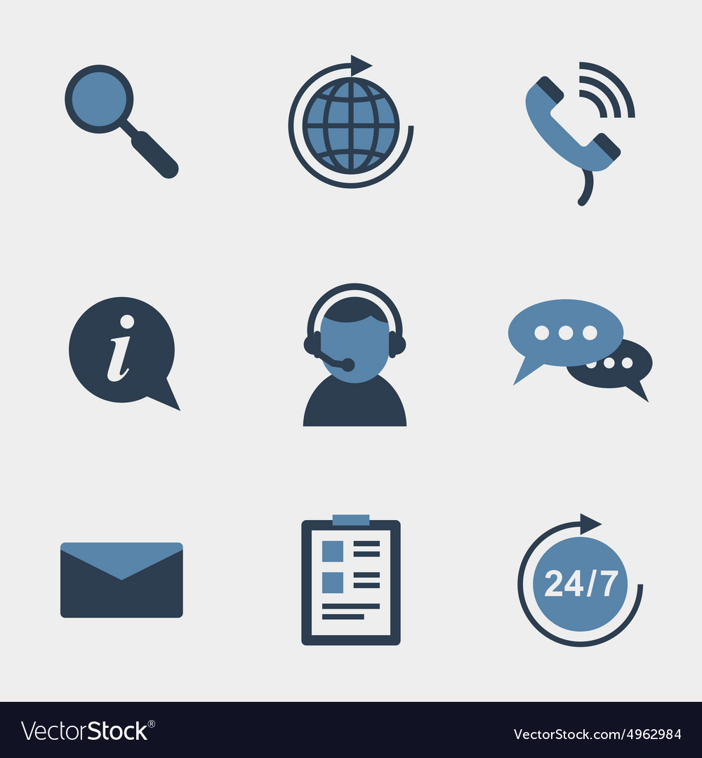 Flat support icons vector image
