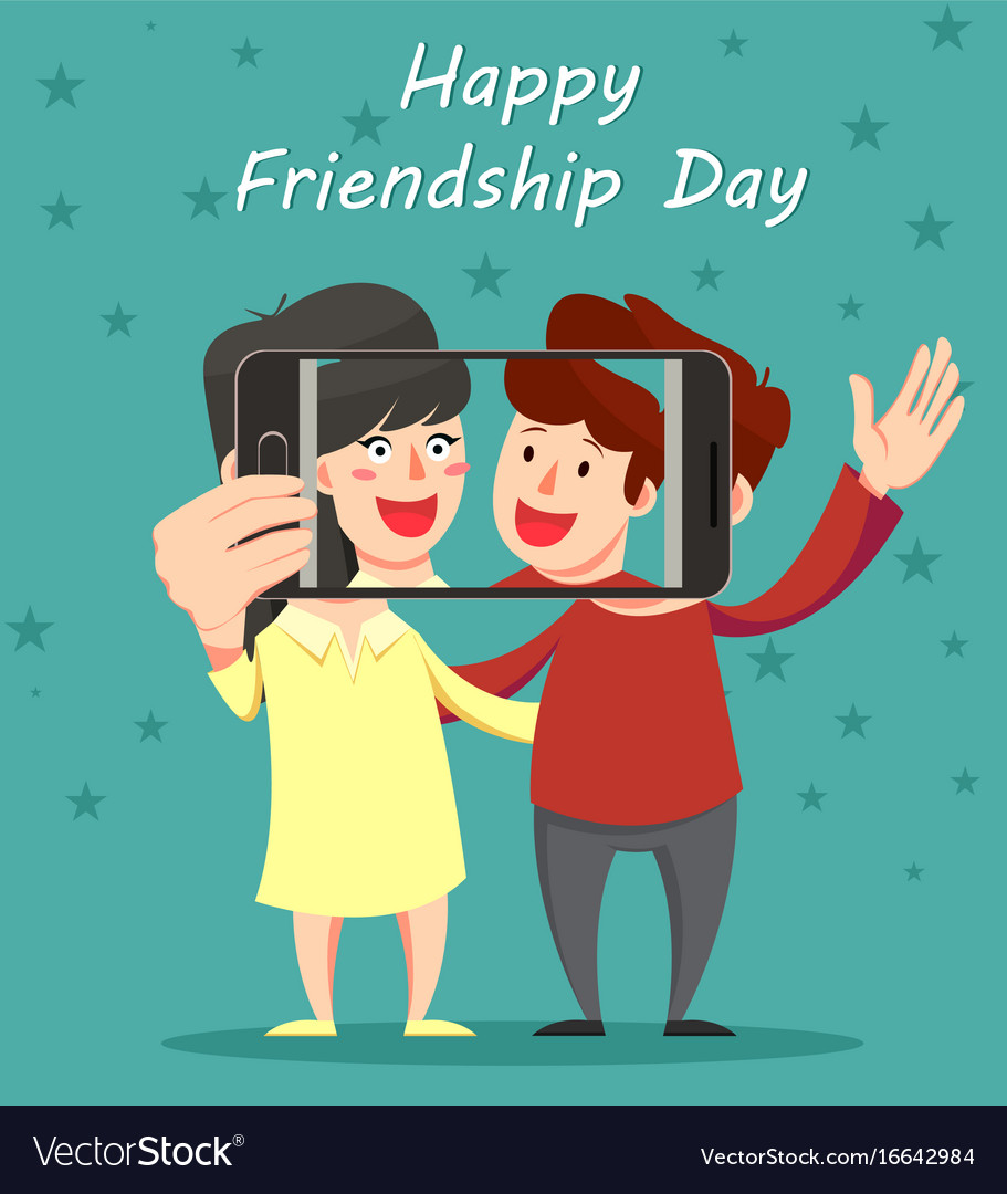 Happy friendship day greeting card friends vector image m4hsunfo