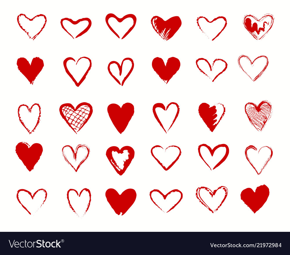 Hearts red signs collection