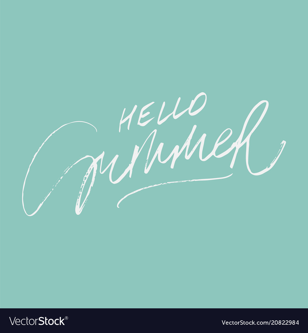 Hello summer lettering on green vector image