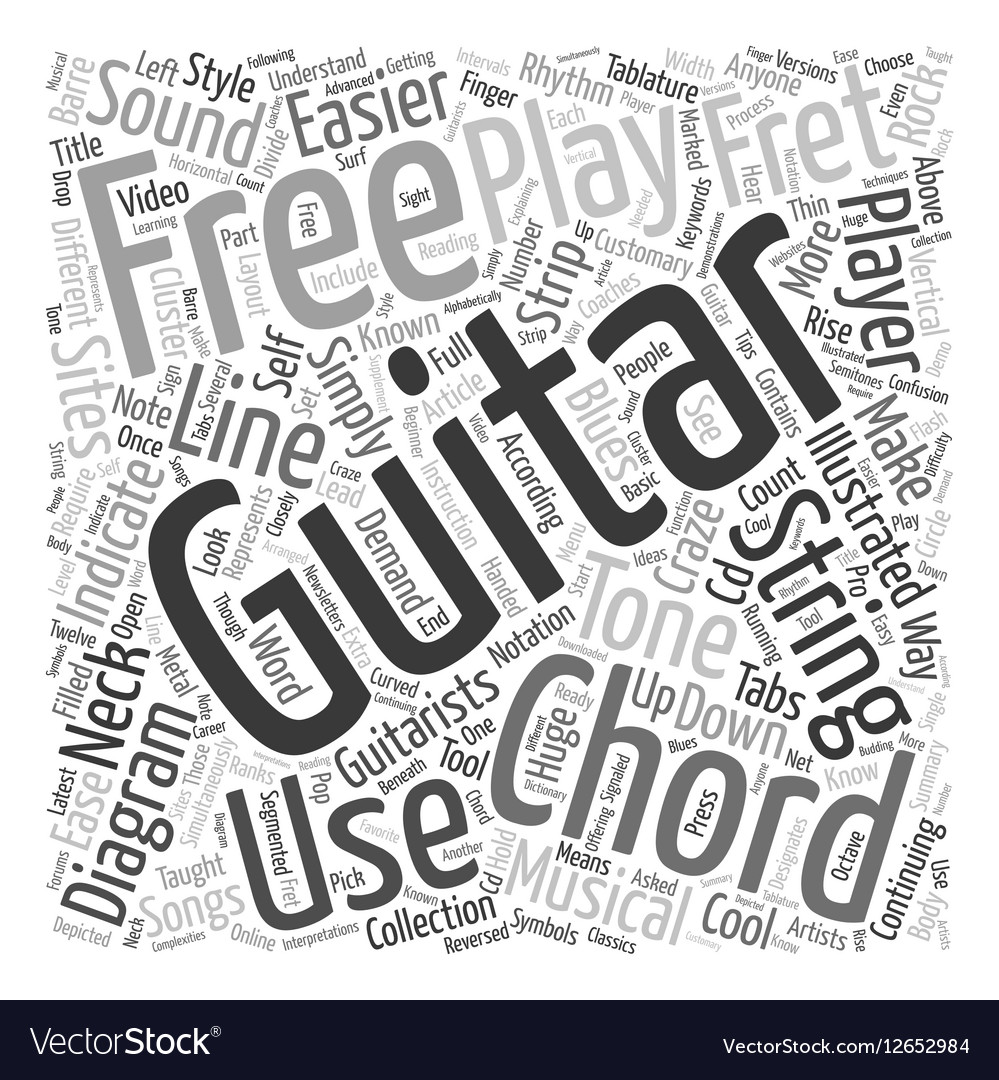 Know Your Free Guitar Chords Text Background Vector Image