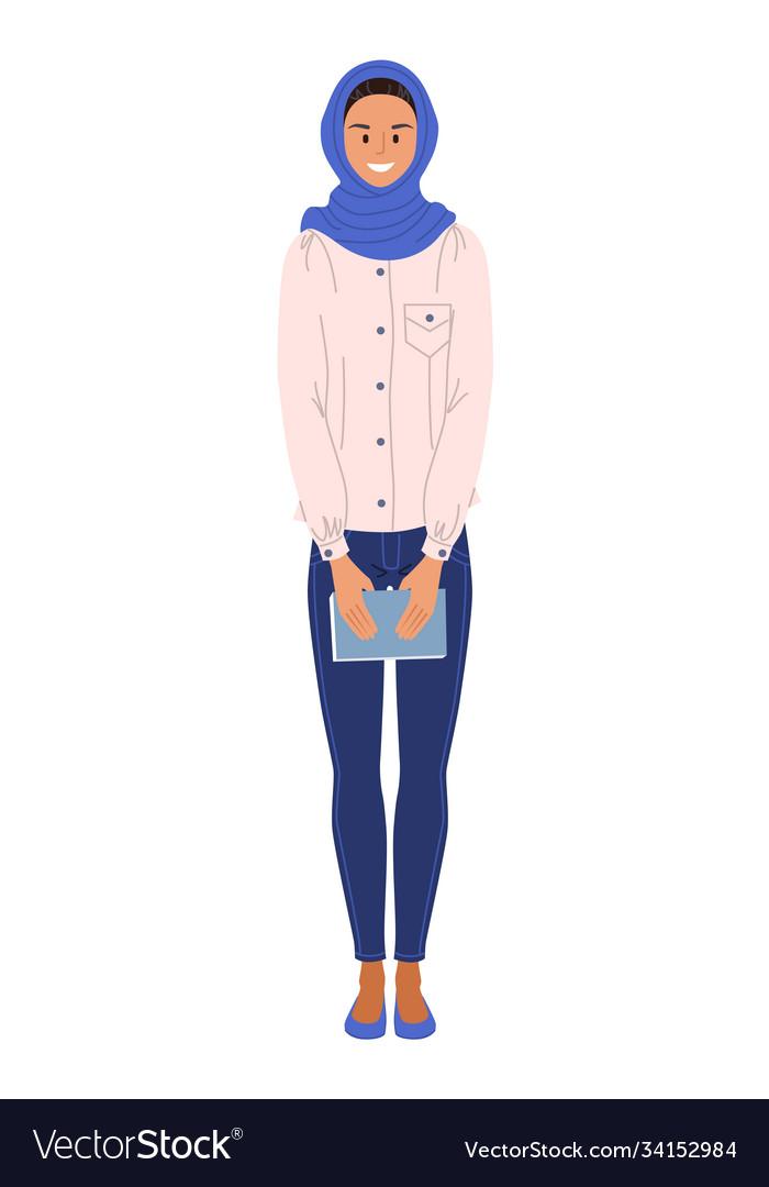 Muslim ethnicity woman student on white