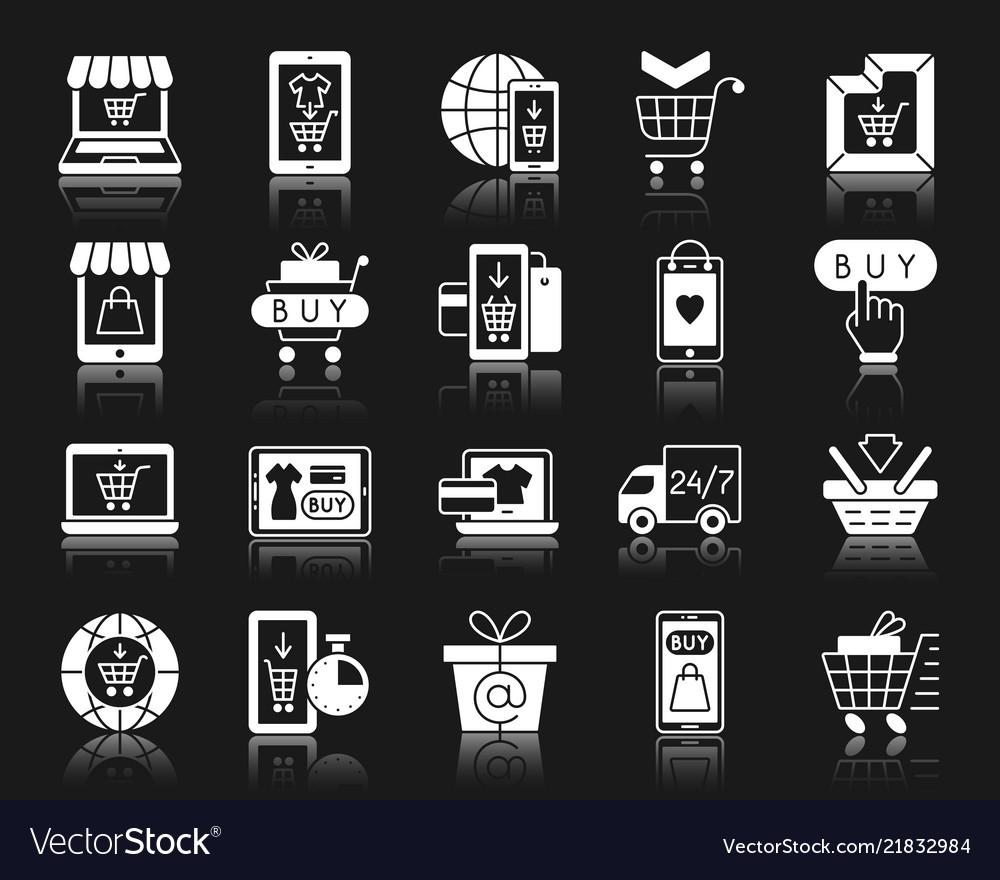 Online shop white silhouette icons set