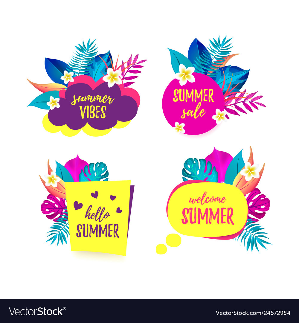 Set of hello summer summer vibes sale welcome