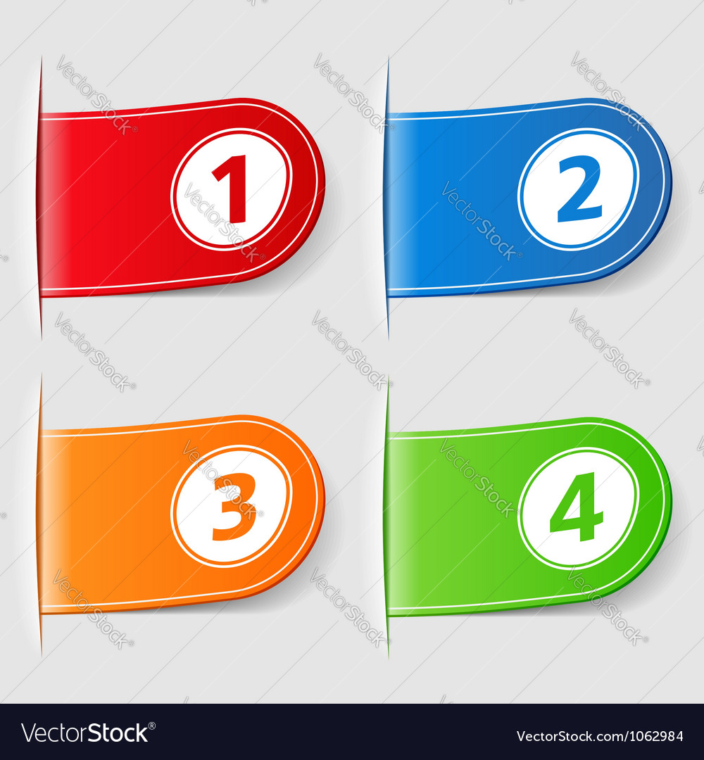 Set of tabs with numbers vector image