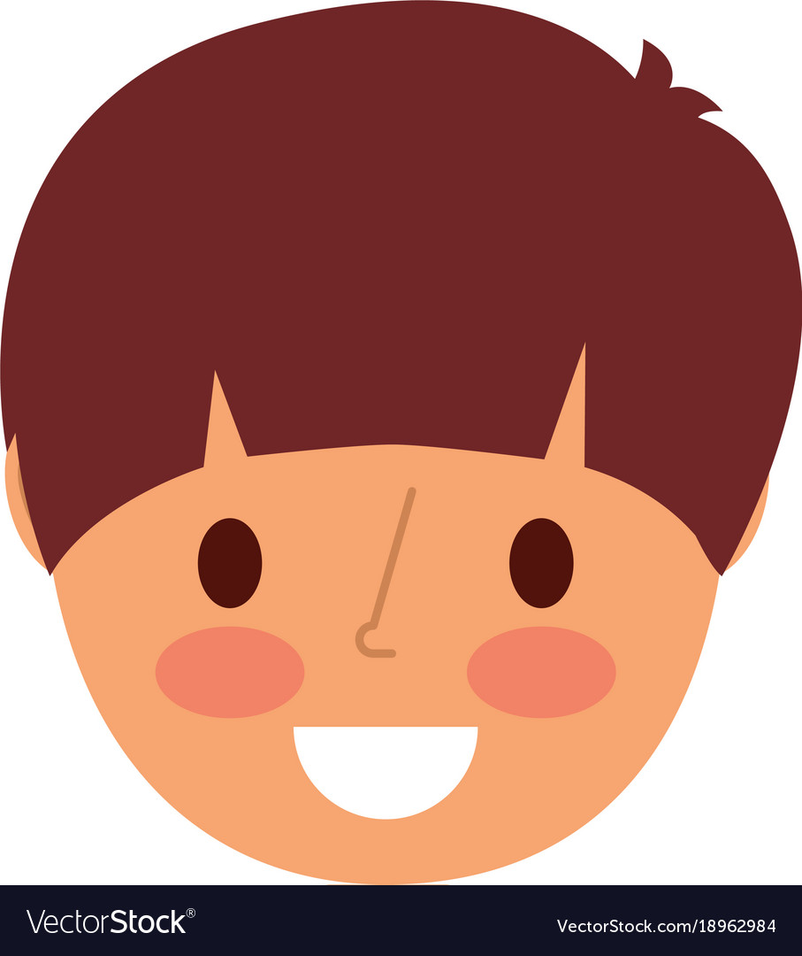 Smiling face young boy cartoon