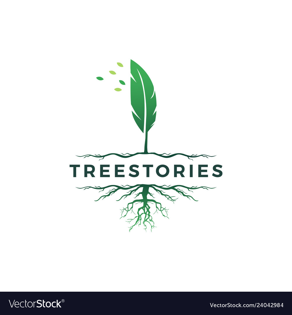 Tree quill feather ink root logo icon