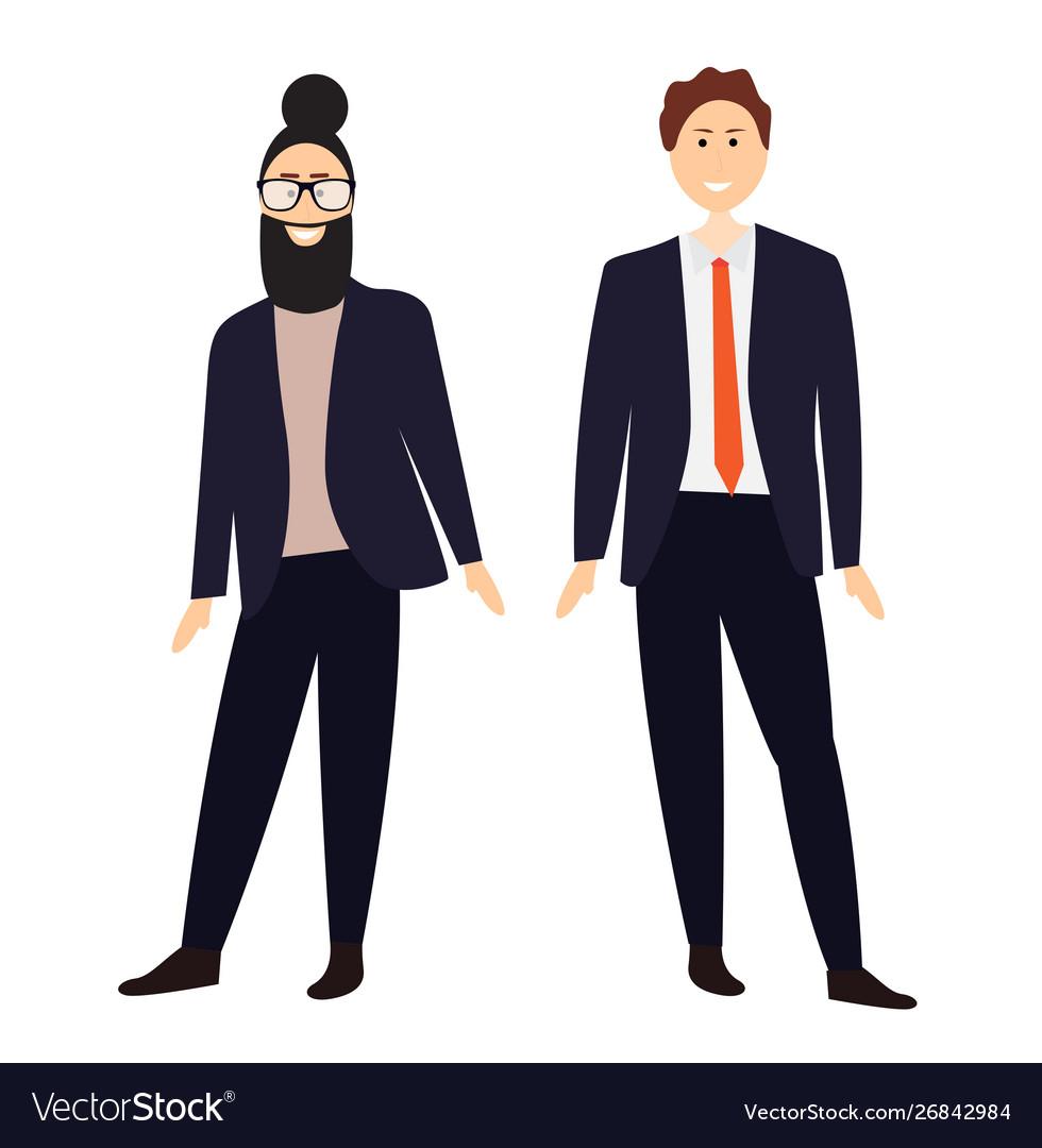 Two cartoon men in suits