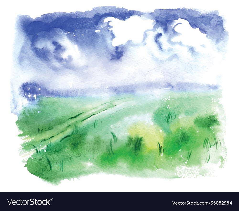Watercolor a summer landscape