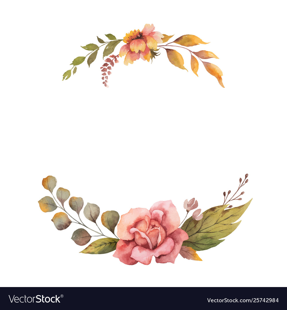 Watercolor autumn wreath with rose and