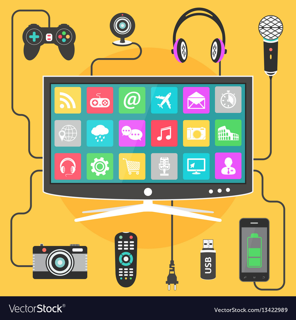 Digital devices connected to a modern smart tv vector image
