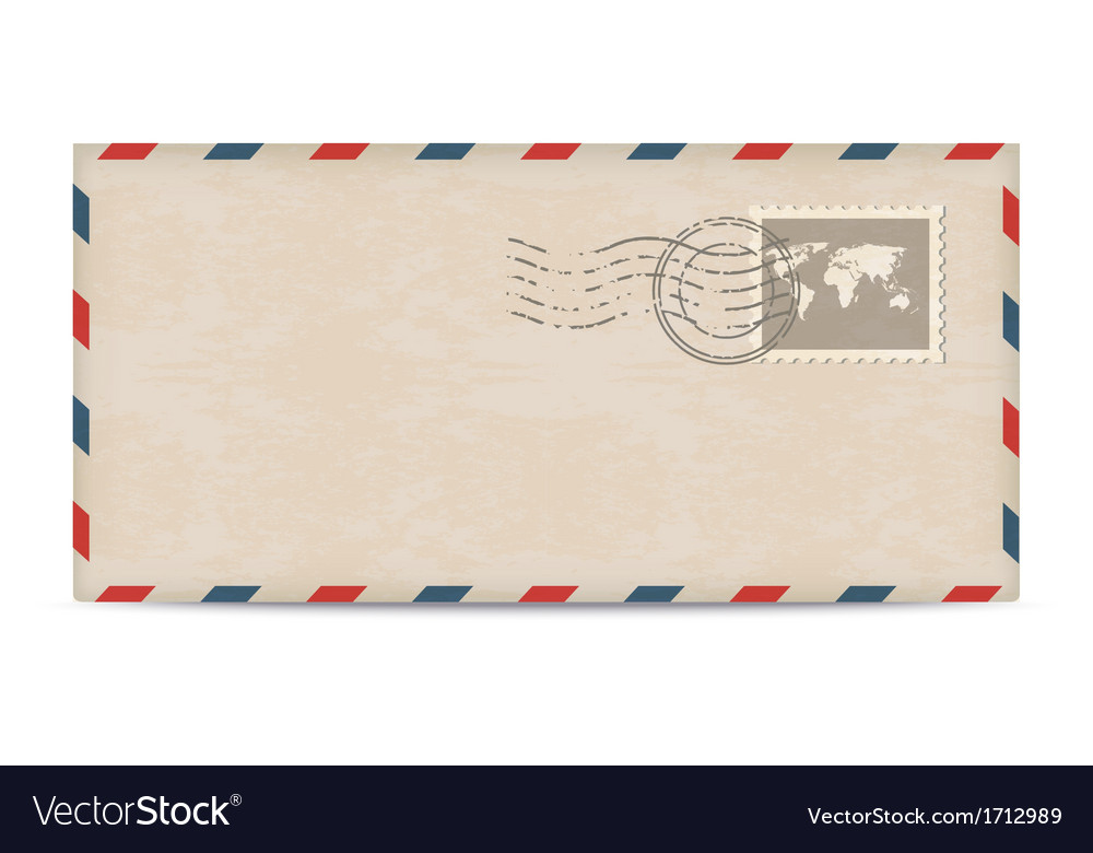 Old postage envelope with stamps