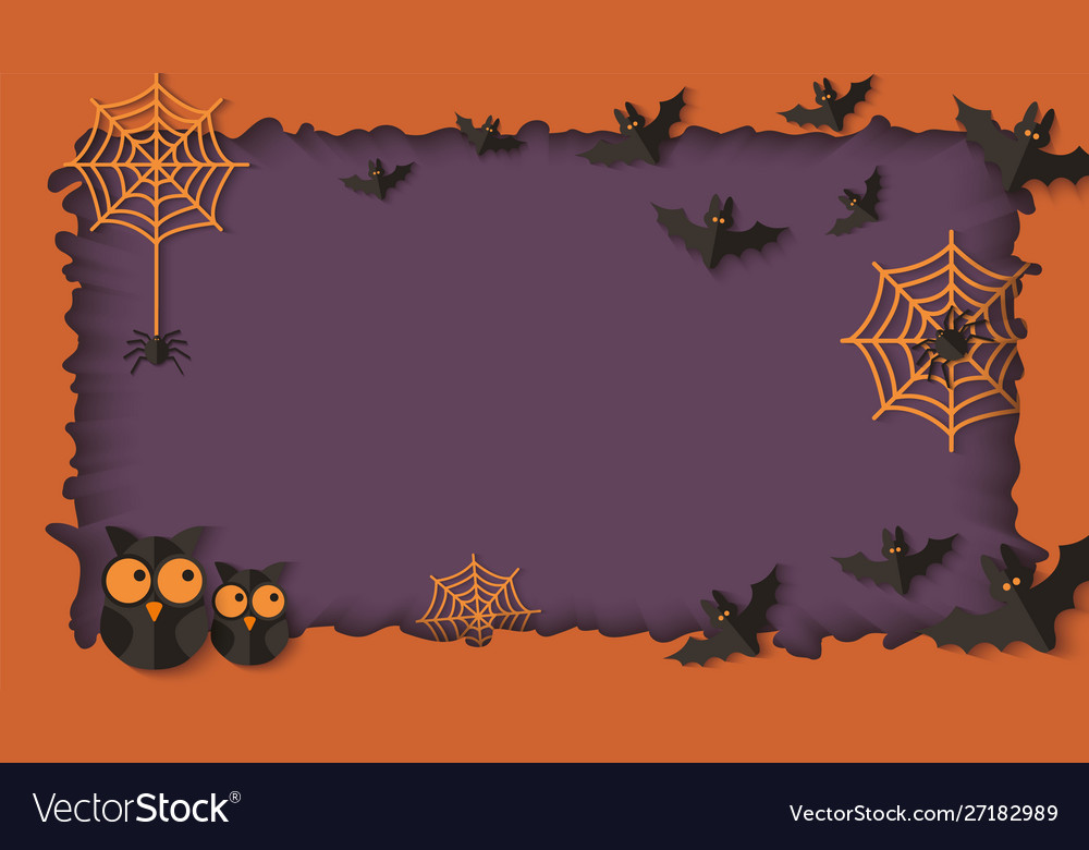Paper cut layers in halloween frame with owls and