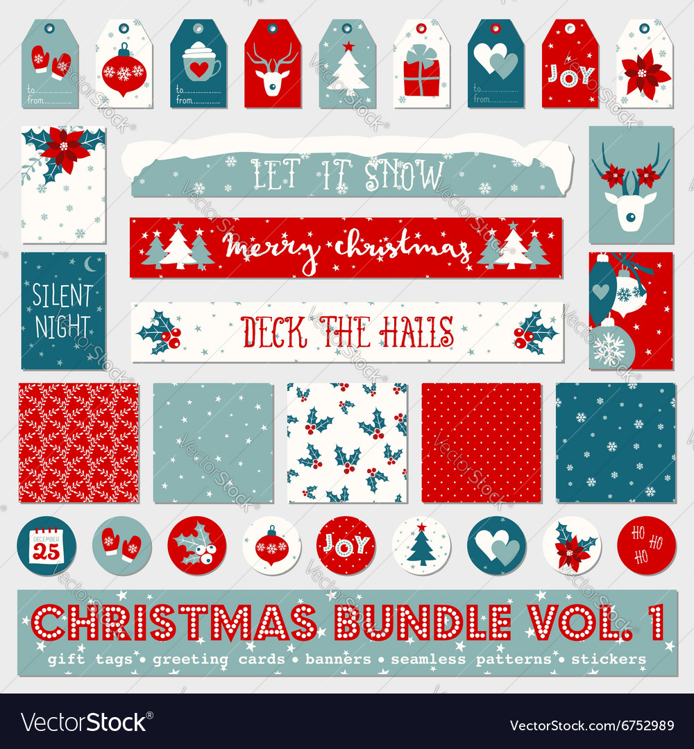 Red white blue christmas printable papers bundle