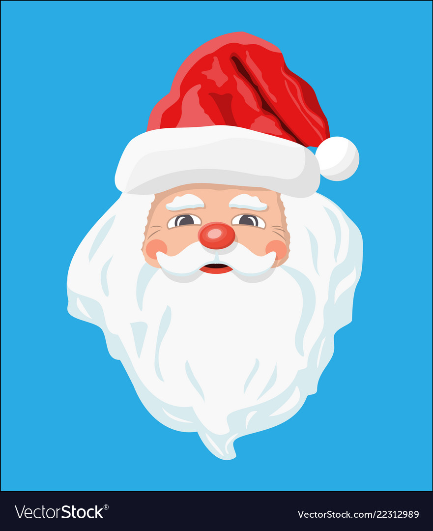 Santa claus head with beard and red hat